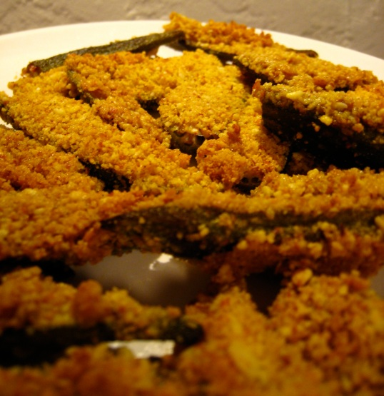 Almond Crusted Baked Okra