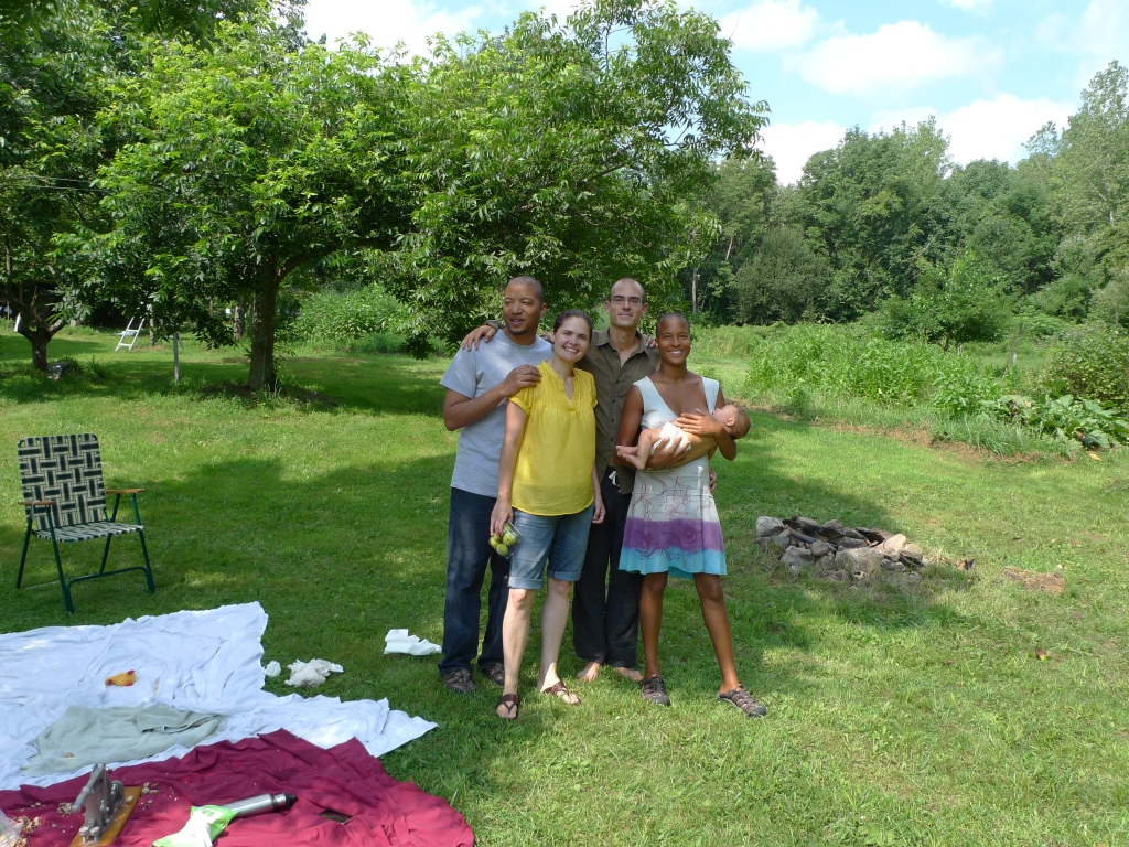 At my parent's house in Connecticut with friends, brother, hubby & Sun
