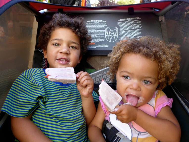 My kids, Sun (4 yrs) and Eva Luna (2 yrs) chomping away on the vegan ice cream pop called paleta.