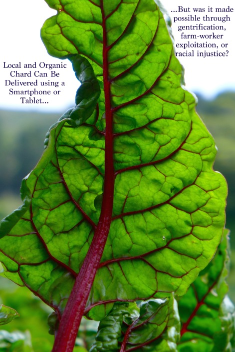 A chard leaf surrounded by text,